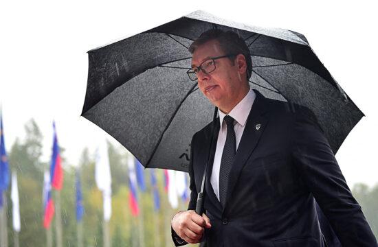 Alekszander Vucsics szerb elnök a szlovéniai Brdóban tartott Európai Unió-Nyugat-Balkán csúcson 2021. október 6-án #moszkvater
