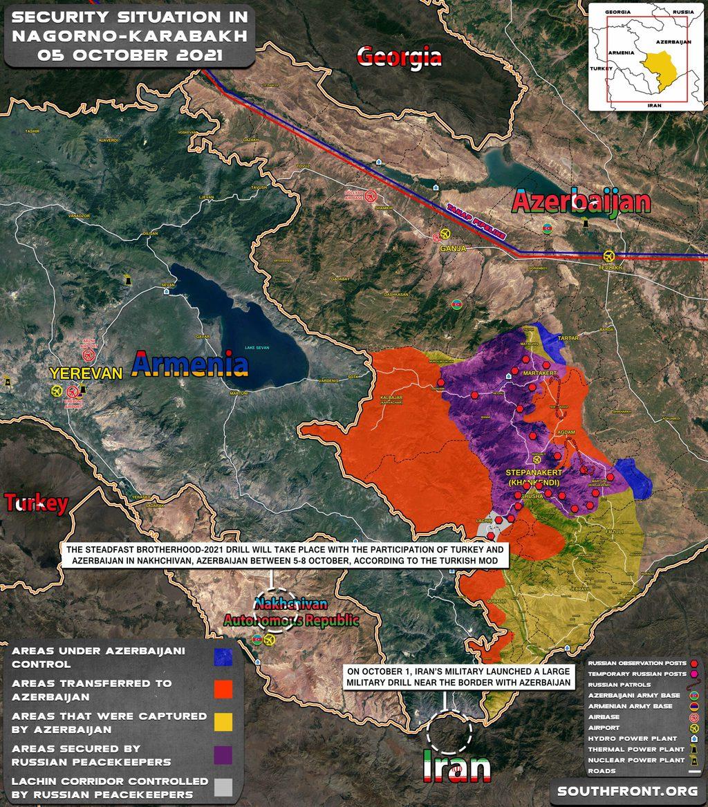 A Hegyi-Karabah és Nahicseván környéki aktuális helyzetkép feltüntetve az iráni és azeri-török hadgyakorlatokat #moszkvater