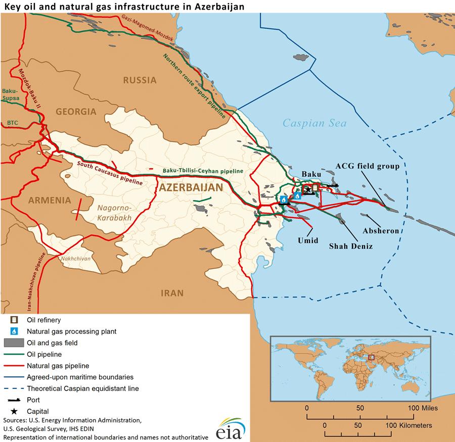 Mint látható az azeri olaj- és gázkitermelési infrastruktúra főképp Baku és a környező kaszpi-tengeri felségvizek körzetében csoportosul, míg a főbb csővezetékek szintén könnyen semlegesíthetőek egy konfliktus esetén #moszkvater