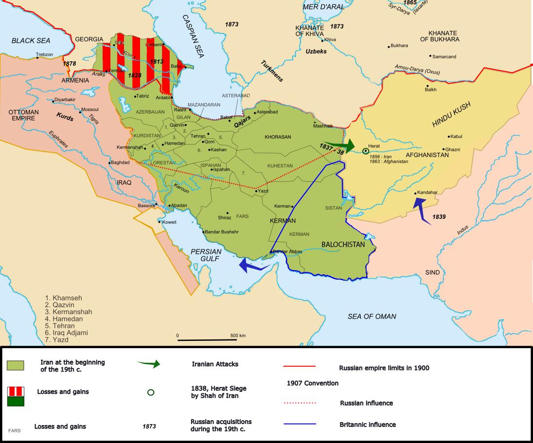 A pirossal csíkozott terület az orosz-perzsa háborúk során elvesztett egykori iráni területeket mutatja #moszkvater