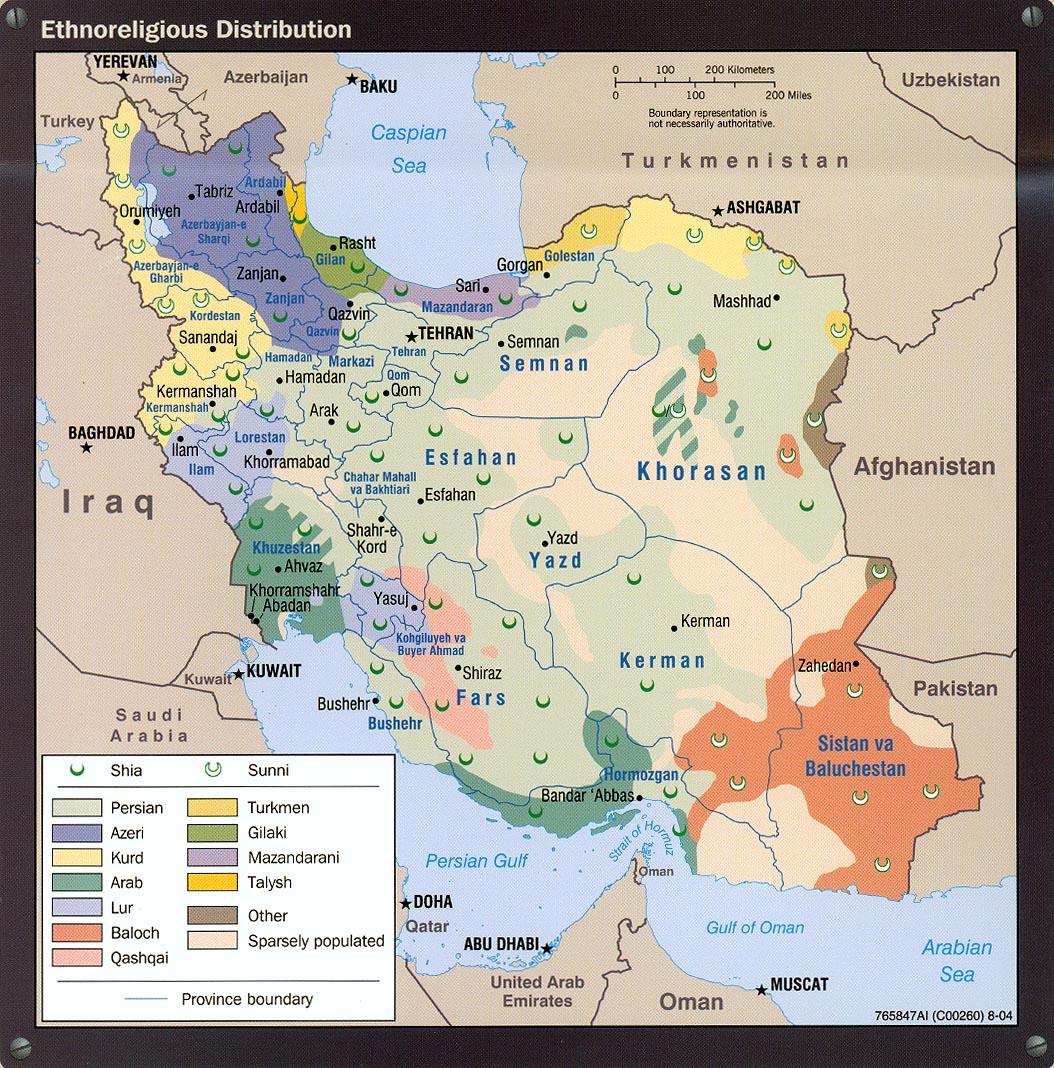 Irán etnikai és vallási összetétele. Mint jól látható az azeri etnikumú népesség főképp az Azerbajdzsánnal és Örményországgal határos északnyugati régióban él, ám Teheránban is jelentős számban találkozhatunk velük #moszkvater