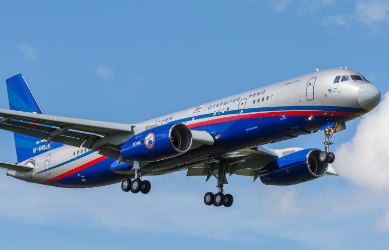 A Tupoljev Tu-214 utasszállító átalakításával létrehozott Tu-214ON Kubinkában. A törzs alján megfigyelhetőek az engedélyezett képalkotó eszközök telepítési helyei #moszkvater