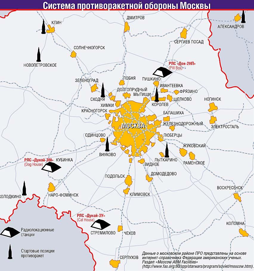 Az A-135 rendszer elemeinek elhelyezkedése a Moszkvai területen. A korábbi A-35M rendszerhez tartozó Dunaj radarok közül a kubinkai Dunaj-3M időközben elbontásra került, míg a sztremilovói Dunaj-3U a Légi-Kozmikus Erők (VKSz) hálózatába tartozik. Forrás:https://das-foland.livejournal.com #moszkvater