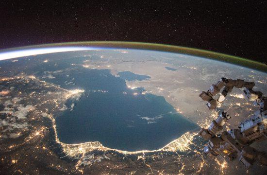 A Kaszpi-tenger éjjel az ISS felvételén az űrből #moszkvater