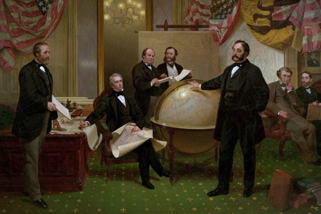 A szerződés aláírása Alaszka eladásakor. A jelenlévők balról: L. Robert S. Chew, William H. Seward államtitkár, William Hunter, Mr. Bodisco, Baron de Stoeckl az orosz nagykövet, Charles Sumner, Fredrick W. Seward #moszkvater
