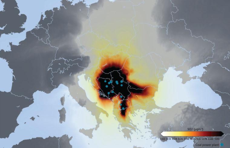 16 Nyugat-Balkáni szénerőmű éves kén-dioxid (SO2) szennyezésének modellje 2018-os adatok alapján #moszkvater