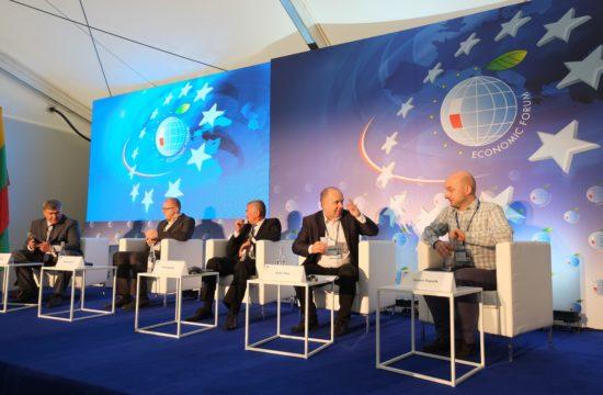 A cyberbiztonsági panelbeszélgetés résztvevői a krynicai fórumon 2019. szeptember 3-án #moszkvater
