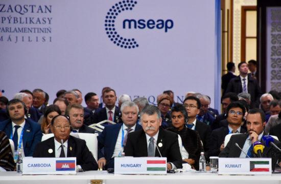 Kövér László, az Országgyűlés elnöke (k) felszólal az Eurázsiai Államok Parlamenti Elnökeinek IV. Találkozóján Kazahsztán fővárosában, Nur-Szultanban 2019. szeptember 24-én. MTI/Országgyűlés Sajtóirodája #moszkvater