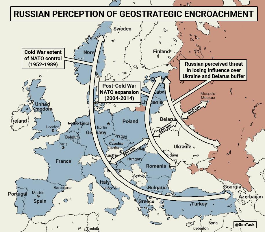 A NATO keleti bővítése során fellépő orosz geopolitikai és biztonsági félelmeket érzékeltető térkép, mely Moszkvától számítva mutatja be a csökkenő távolságot a főváros és a potenciális NATO erők közt #moszkvater