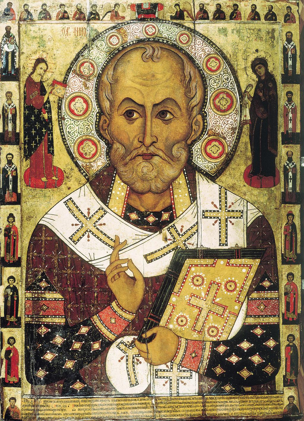 A püspök orosz földön készült, kiemelkedő művészi színvonalú, korai, híres ábrázolása az 1294-es Szent Miklós-ikon, mely a Novgorod melletti Lipenszkij-monostor Szent Miklós-templomából származik #moszkvater